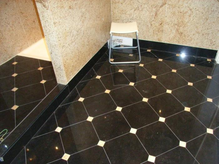 Salle de bain marbrerie d coration int rieur marbre for Salle de bain sol noir